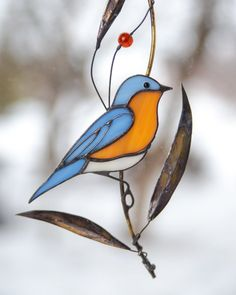 Bluebird stained glass window hangings Stained glass bird lover gift Custom stained glass suncatcher - Bluebird is meant to be a symbol of joy and happiness that awaits you in the future. Stained Glass Ornaments, Stained Glass Birds, Stained Glass Projects, Fused Glass, Tiffany Glass, L'art Du Vitrail, Custom Stained Glass, Glass Animals, Glass Wall Art