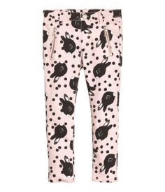 Treggings in stretch cotton twill with an elasticized waistband, back pockets, and a mock fly. Floral Leggings, Pink Leggings, Stylish Outfits, Kids Outfits, Treggings, Elastic Waist Pants, Pink Pants, H&m Online, Fashion Online