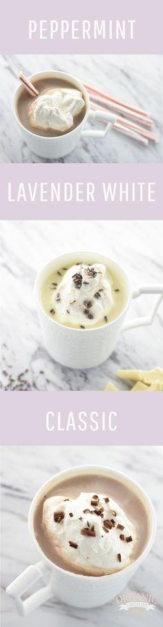 Easy Homemade Hot Chocolate Recipe | Peppermint Hot Chocolate | Lavender White Hot Chocolate | Hot Chocolate Recipe Mix | Christmas Recipes | Winter Recipes | Vegan Recipes | Vegetarian Recipes | Drink Recipes