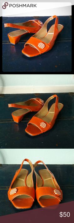 """TAHARI retro-inspired """"Carson"""" sandals, sz 8, VGUC Super cute Tahari slingbacks in a vibrant tangerine hue that adds a great pop of color to muted outfits; this model is called """"Carson."""" Comfortably low heel, appr. 1.5"""", perfect for all-day wear. 1960s/1970s-inspired style. Adorable button detail. Gently worn; small scuff on right front. Sz 8M, TTS. Ships from a smoke-free, dog-supervised home. Fast shipper & top-rated seller. :-) Tahari Shoes Sandals"""