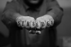Straight Edge knuckle tattoo