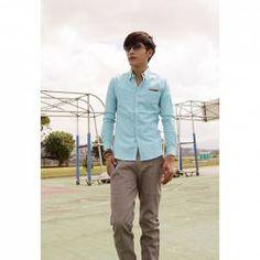 $5.63 Spring New Style Men's Faux Leather Pocket Embellished Long Sleeve Shirt