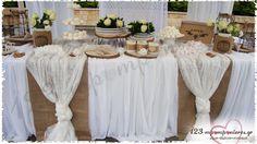 ΣΤΟΛΙΣΜΟΣ ΓΑΜΟΥ ΜΕ ΔΑΝΤΕΛΑ ΚΑΙ ΛΙΝΑΤΣΑ- ΚΩΔ:DELL-1504 Table Decorations, Bride, Wedding Ideas, Home Decor, Mesas, Wedding In A Church, Wedding Bride, Decoration Home, Bridal