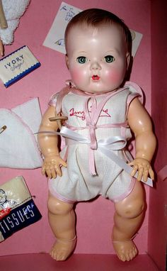 "tiny tears doll | 13.5"" Molded Hair 1950s Tiny Tears Doll - MINT in CASE"