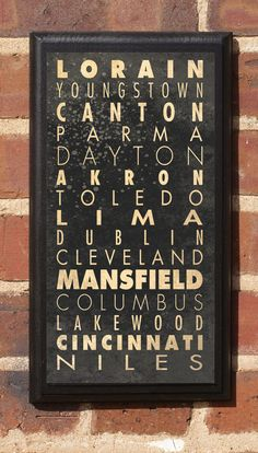 Cities of Ohio Subway Scroll Vintage Style Wall Plaque. $27.00, via Etsy.