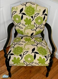 love makeovers! vintage furniture + modern fabric = fabulous!