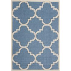 Safavieh Courtyard Blue/Beige Geometric-Print Indoor-Outdoor Rug  Overstock  Not sure, but is a great price