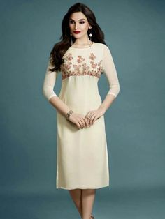 Enhancing off white color kurti crafted on georgette with golden zari and resham work. Item code: KANB20269 http://www.bharatplaza.com/new-arrivals/kurtis.html