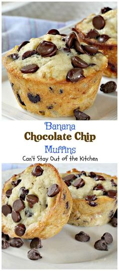 Banana Chocolate Chip Muffins – Can't Stay Out of the Kitchen (Breakfast, Snack & Dessert worthy) Just Desserts, Delicious Desserts, Yummy Food, Easter Desserts, Baking Desserts, Banana Dessert Recipes, Banana Muffin Recipes, Cake Recipes, Wrap Recipes