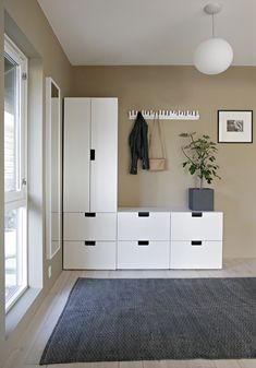 Browse the collection of all the interior design inspiration that Stylizimo has created over the years. Categorized, simple and beautiful. Hallway Inspiration, Interior Design Inspiration, Nordli Ikea, Ikea Hallway, Jotun Lady, Hallway Decorating, Beautiful Interiors, House Colors, Decoration