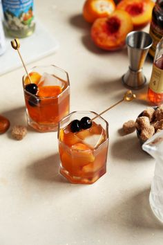 Peach and Orange Flower Old Fashioned  //  joy the baker