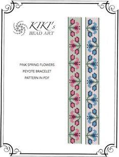 Peyote Pattern for bracelet - Pink spring flowers peyote bracelet pattern PDF instant download