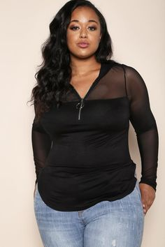 a88dd9db0da46 A sporty plus size hoodie top with an edgy and daring touch. Features a  hoodie
