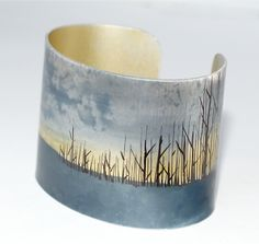 Edge of the woods cuff by Claire Gent via folksy Run Away With Me, Kraft Gift Boxes, Hand Illustration, Anklets, Jewelry Crafts, Cuff Bracelets, How To Draw Hands, Unique Jewelry, Jewelry Design
