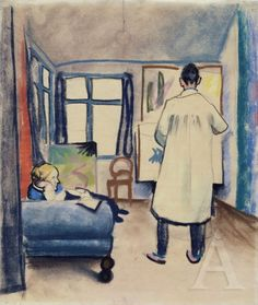 August Macke Franz und Maria Marc im Atelier, 1912