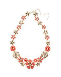 Napier Coral Enamel Flower Collar Necklace