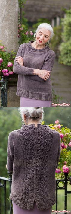 Вязание спицами пуловера с узором на спине Tevara by Paula Pereira.