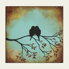 Romantic Birds on tree branch - Ready to ship next day! Titled: Love is Ours Dimensions:12 x 12 Gallery wrapped canvas with edges