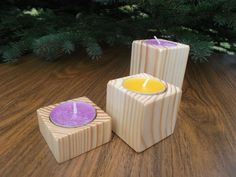 Wooden candleholder Tealight holder Wooden by WoodpeckerLG on Etsy
