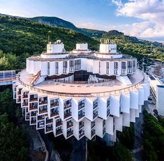 Sensationally beautiful resort is located in Kurpaty, Crimea. This amazing resort is also named Kurpaty Health Resort. As soon as you lay your eyes on. Unusual Buildings, Interesting Buildings, Amazing Buildings, Futuristic Architecture, Beautiful Architecture, Art And Architecture, Brutalist, Building Design, Exterior