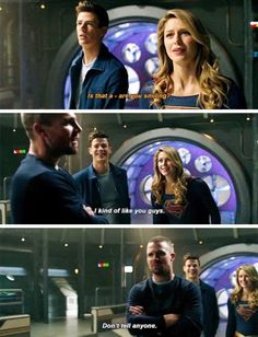 Barry, Kara and Oliver in Elseworlds - Top SuperHeroes Arrow Funny, Arrow Memes, Superhero Shows, Superhero Memes, Arrow Cw, Team Arrow, Supergirl Superman, Supergirl And Flash, Arrow Flash