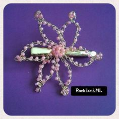 Cream Pink Starburst Wire Crochet Hair Pin by RockDocLML on Etsy https://www.etsy.com/listing/240589247/cream-pink-starburst-wire-crochet-hair