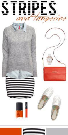 Striped Skirt + Denim