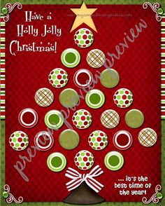 Holly Jolly Christmas Advent for Kisses - PRINTABLE