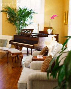Grand Piano In Corner Of Living Room