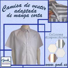 Mod. 0134 - Camisa de vestir adaptada de manga corta para caballero. Disponible en nuestra página web www.gmk.es