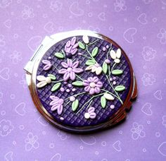 Polymer Clay Applique | Polymer Clay Embroidery/Applique Round Pocket Mirror by NKDesigns, $27 ...