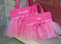 Twin Tote Bags Embroidered dance bag  Ballet bag Hot by naptime21
