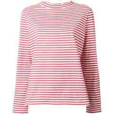 Mih Jeans high neck striped T-shirt (220 AUD) ❤ liked on Polyvore featuring tops, t-shirts, red, red striped top, red top, stripe t shirt, red tee and high neck top