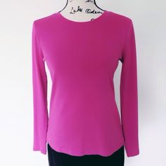 LOFT Cotton Long Sleeve Top This pink top is 100% cotton. Shows some wear, but still in good shape. No stains. Size S. Very comfortable everyday top. LOFT Tops Tees - Long Sleeve