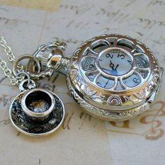 Alice In Wonderland Tea Party Steampunk Pocket Watch Necklace - Steampunkary