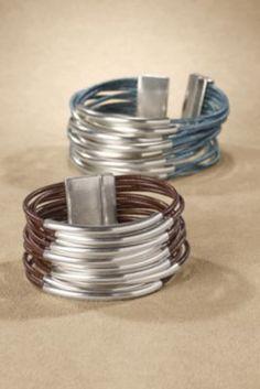 Tallie Bracelet - Leather Cord Bracelet, Leather & Silver Bracelet | Soft Surroundings