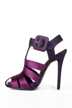 Sexy satin eggplant purple sandal heels with chunky buckle. HUGE for Fall '11…