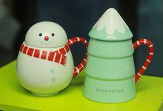 2015 Korea Starbucks Christmas Snowman Mug + Tree Mug 355ml (12oz) 2ea Set #Starbucks