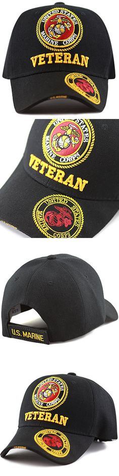 The Hat Depot Official Licensed 3D Embroidered Military Veteran One Size Cap (Black-U.S. Marine)
