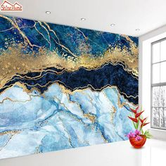 Abstract Blue Marble Wall Paper 3d Glitter Gold Wallpaper Self Adhesive Wallpapers for Living Room Home Improvement Mural Roll - Non Woven Material / L200cm x H150cm