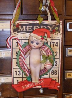 Kewpie Doll, Christmas Hanging Wall decor on a Bingo Card by Stacy Marie Christmas Bingo Cards, Diy Wall Decor, Wall Decorations, Vintage Christmas, Christmas Ideas, Diy Crafts, Card Crafts, Altered Art, Decorative Items