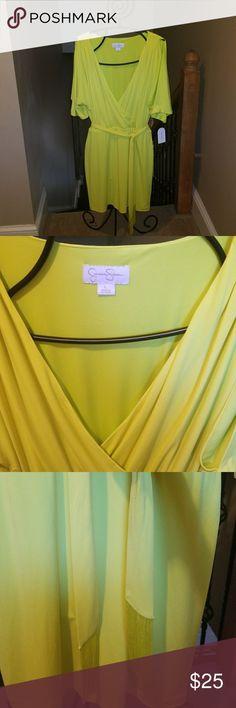 Jessica Simpson. Citron dress cold shoulder NWT Jessica Simpson Dresses Midi