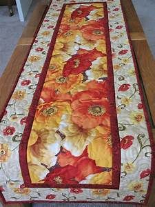 Poppy Table Runner fall autumn quilted