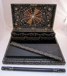 British Raj Colonial India Porcupine Quill Writing Box