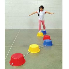 School Smart Stepping Buckets Balance Builders - 5 x 12 inch - Set of 6 - 2 Each of 3 Primary Colors