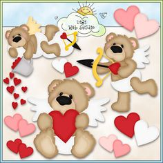 Cupid Bears 1 - Non-Exclusive Kristi Dailey Clip Art : Digi Web Studio, Clip Art, Printable Crafts & Digital Scrapbooking!