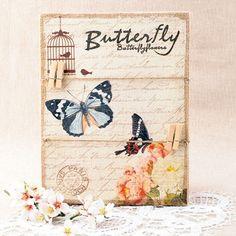 Lienzo de yute con cuerdas y pinzas - Butterfly