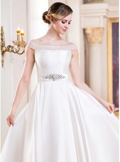 A-Line/Princess Off-the-Shoulder Tea-Length Satin Tulle Wedding Dress With Beading Sequins (002052698) - JJsHouse