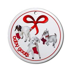 Goat Christmas Baby Stockings with Tree Ornament Christmas Round Ornament by CafePress. Goat Christmas ornament for goat lovers baby goats with Stockings Promote the Goat Christmas Round Ornament Instantly accessorize bare wall-space with our Round Ornament. Makes great room or office accessories, fun favors for birthday parties, wedding or baby shower Ornaments, or adding a unique, special touch to gift-wrapped packages. Comes with its own festiv. Price: $12.50