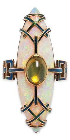 Art Nouveau Opal & Peridot Ring, Georges Fouquet